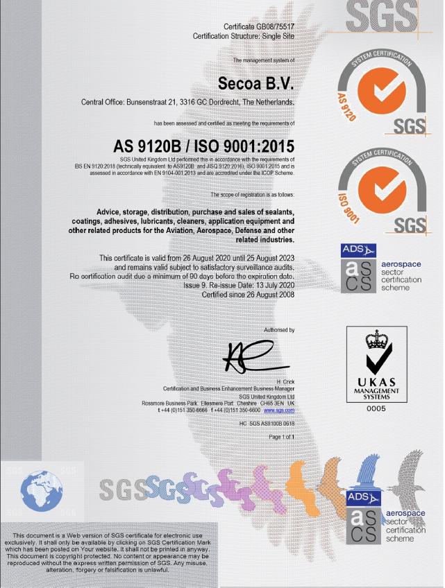 ISO 9001 2015 EN9120 2018